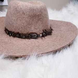 Accessories - BOHO Floppy Hat Wool Pheasant Feather Hat